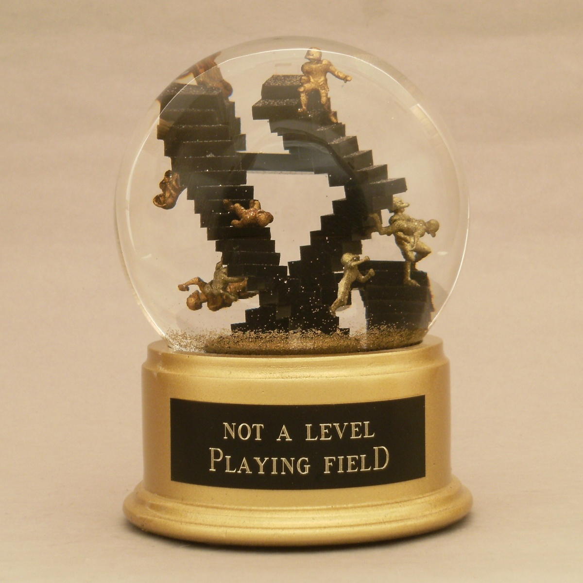 Not a Level Playing Field snow globe
