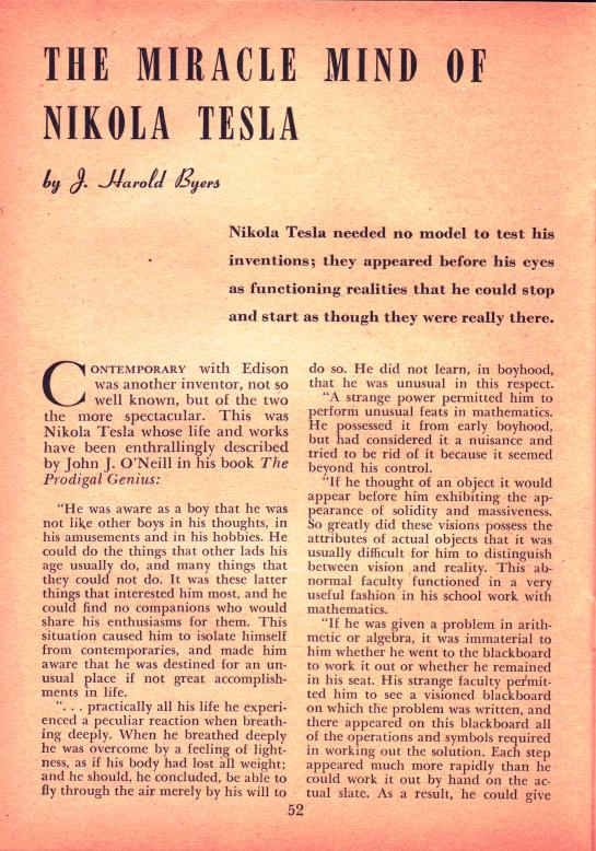 Tesla Article 1949
