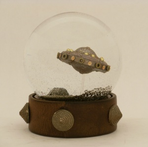 Steampunk Flying Saucer snow globe, Camryn Forrest Designs 2013