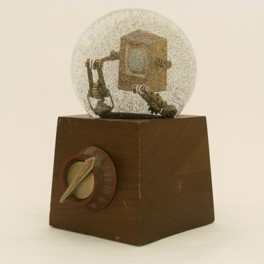 Re-Run Television snow globe