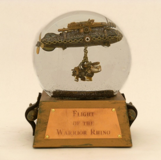 Flight of the Warrior Rhino custom snow globe, Camryn Forrest Designs 2013