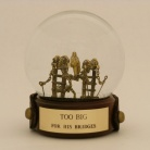 Too Big for His Bridges, one of a kind snow globe, Camryn Forrest Designs 2013
