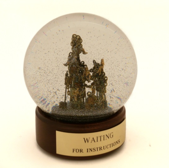 Waiting for Instructions custom snow globe, Camryn Forrest Designs 2013