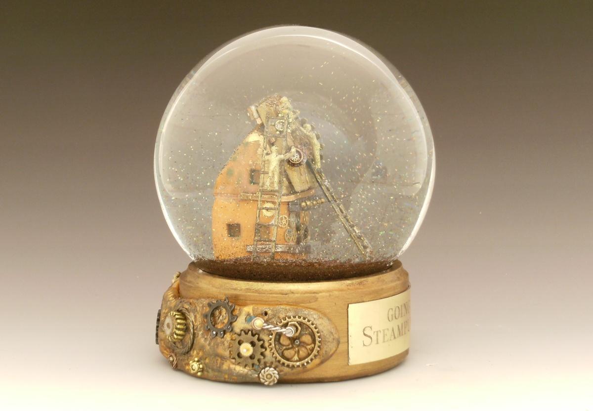 Going Steampunk custom snow globe by Camryn Forrest Designs