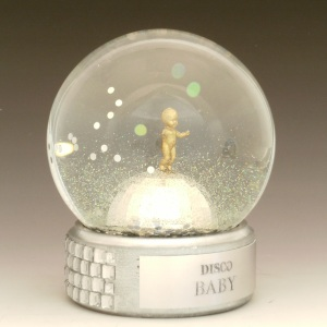 Disco Baby custom snow globe, Camryn Forrest Designs, Denver CO
