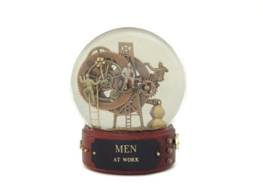 Men at Work custom snow globe by Camryn Forrest Designs, Denver, Colorado