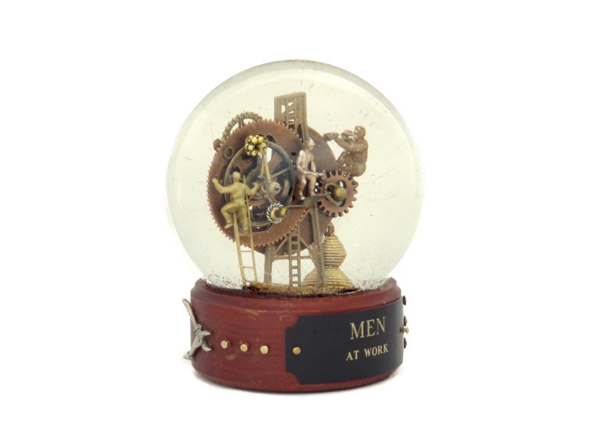 Men at Work custom snow globe by Camryn Forrest Designs, Denver, Colorado