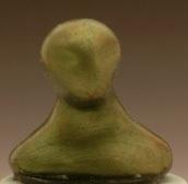 Alien miniature head sculpture in snow globe, Camryn Forrest Designs, Denver Colorado