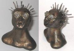 Pinhead, miniature head sculpture in snow globe, Camryn Forrest Designs, Denver Colorado