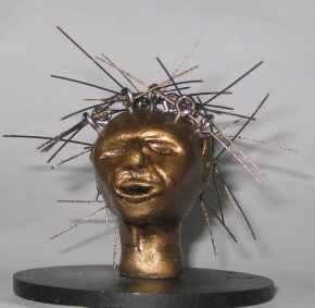 Networked, Miniature head sculpture, Camryn Forrest Designs, Denver Colorado