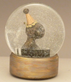 Tears of a Clown, miniature head sculpture in snow globe, Camryn Forrest Designs, Denver Colorado