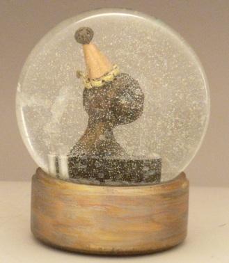 Tears of a Clown, miniature head sculpture in snow globe, Camryn Forrest Designs, Denver Colorado