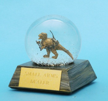 Small Arms Dealer snow globe Camryn Forrest Designs 2016