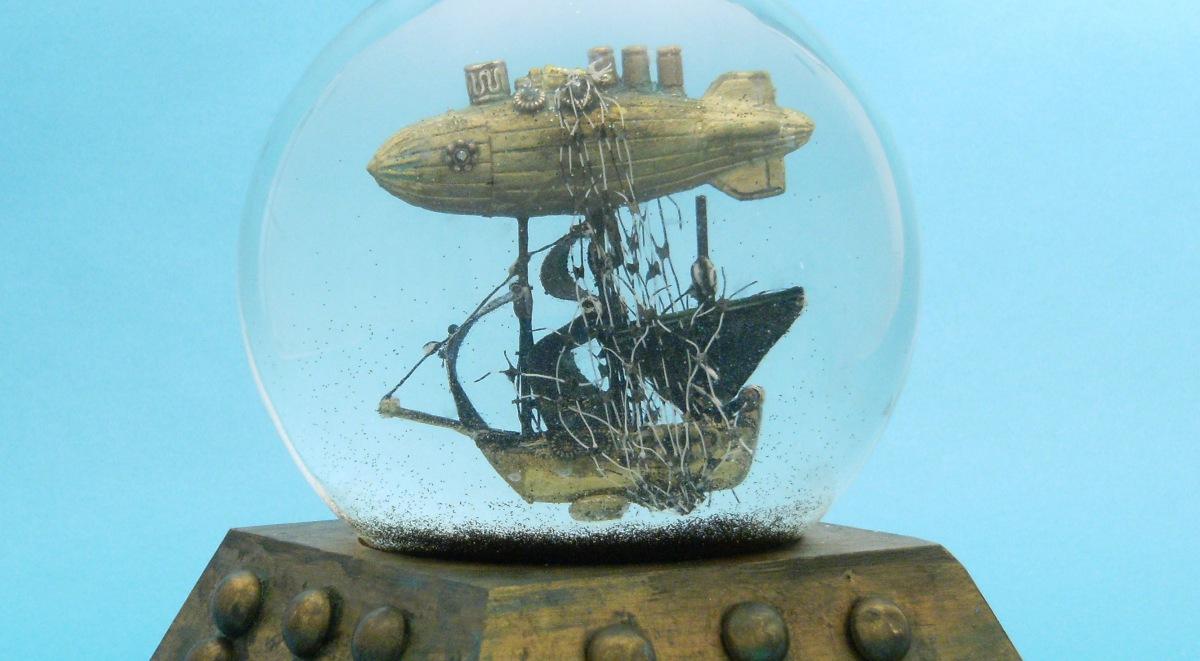 Black Sails airship snow globe Camryn Forrest Designs Denver Colorado