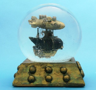Black Sails airship snow globe Camryn Forrest Designs Denver Colorado