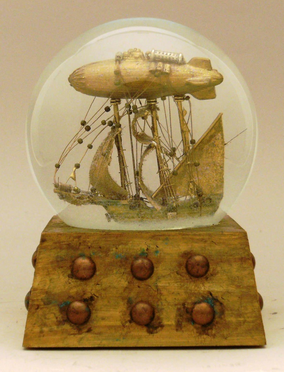 Journey to the Stars airship snow globe, Camryn Forrest Designs, Denver Colorado USA