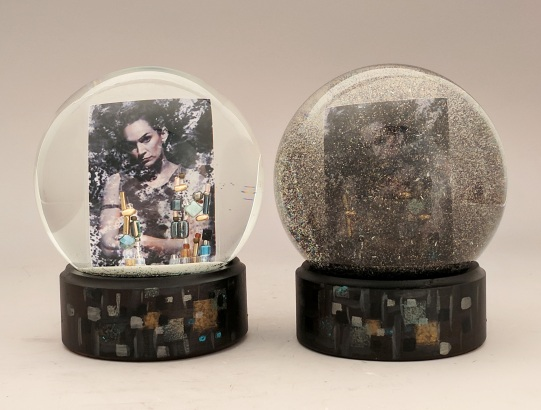Two views of The Tangle movie snow globe, Camryn Forrest Designs, Denver, Colorado