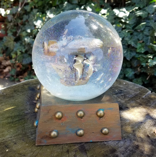 Voyage Beyond airship snow globe, Camryn Forrest Designs, Denver, Colorado