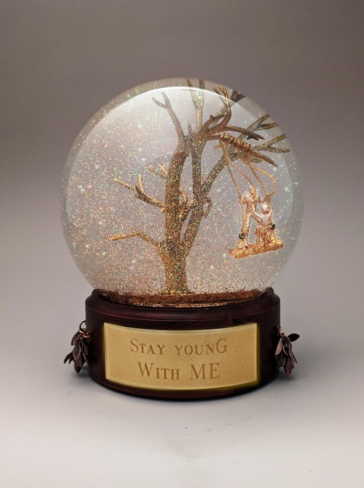 Stay Young With Me snow globe, Camryn Forrest Designs, Denver Colorado