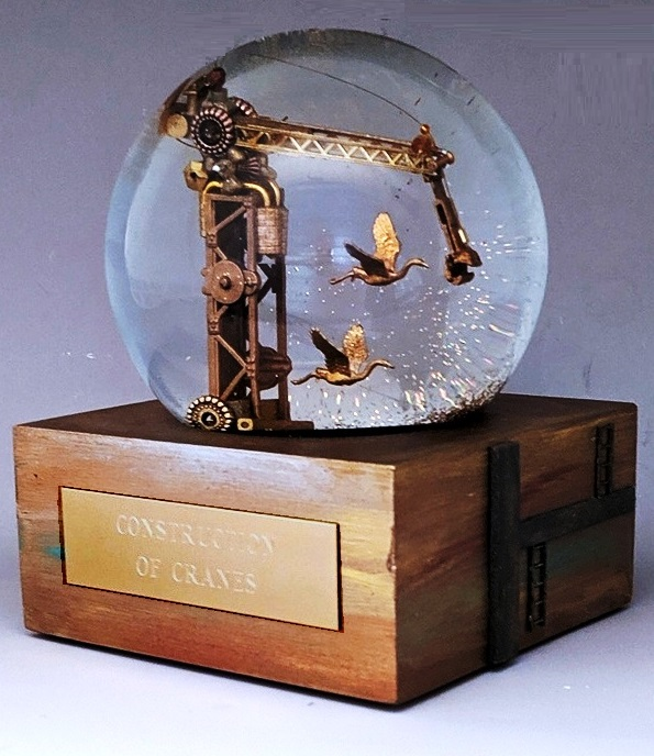 Construction of Cranes snow globe Camryn Forrest Designs, Denver CO USA